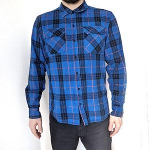 Men's Plaid Blue Button Down Shirt